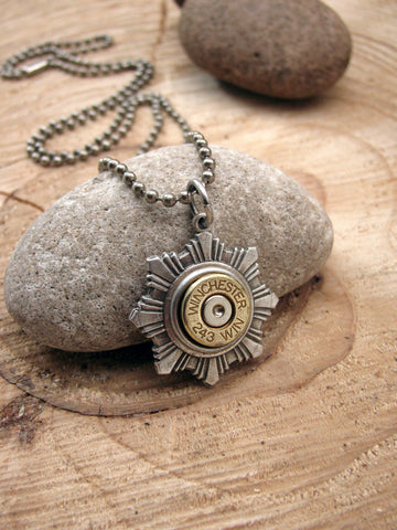 Men's Bullet Necklace - Star Medallion Shaped on Stainless Ball Chain