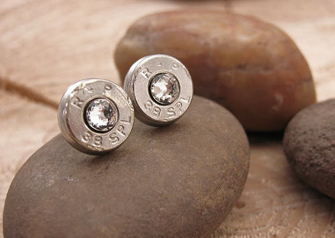 Bullet Studs - Nickel Bullet Casing Diamond Earrings