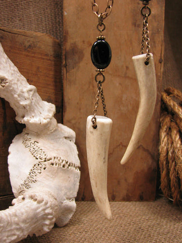 Genuine Deer Antler Tip Pendant Necklace - Choice of Onyx or Turquoise Bead