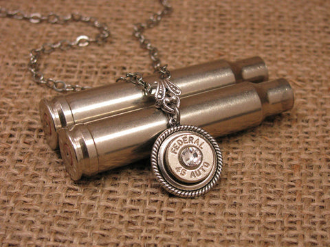 Nickel 45 Auto Single Bullet Casing Necklace