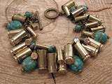 Mixed Brass Bullet & Turquoise Loaded Charm Bracelet-SureShot Jewelry