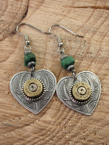 Shot Thru the Heart Turquoise Beaded Bullet Dangle Earrings