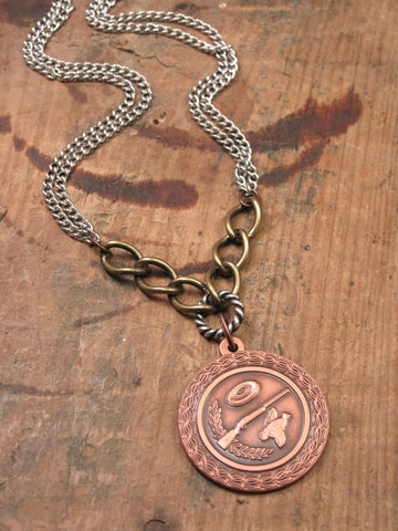 Vintage Copper Skeet/Trap Shooting Medallion Necklace - Unisex
