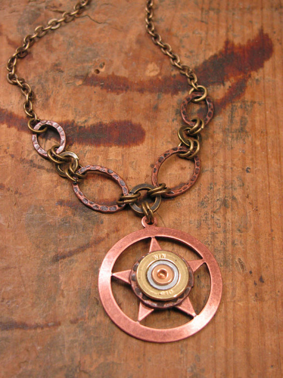 410 Gauge Shotshell Copper Lone Star Bullet Necklace-SureShot Jewelry