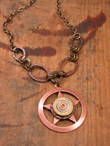 410 Gauge Shotshell Copper Lone Star Bullet Necklace