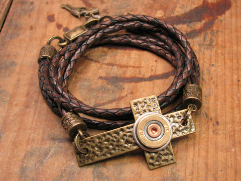 Triple Wrap Leather Bronze Cross & Shotshell Bracelet