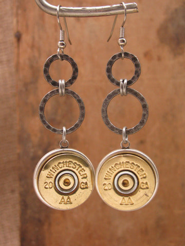 Brass 20 Gauge Shotgun Casing Double Ring Silver Dangle Earrings