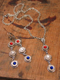 Patriotic Triple Bullet Necklace - Red, White and Blue-SureShot Jewelry