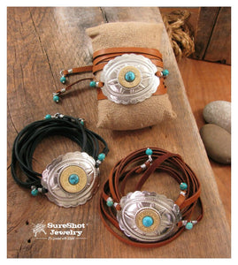 Multi Wrap 12 or 20 Gauge Shotshell Deerskin Lace Boho Style Bracelets-SureShot Jewelry