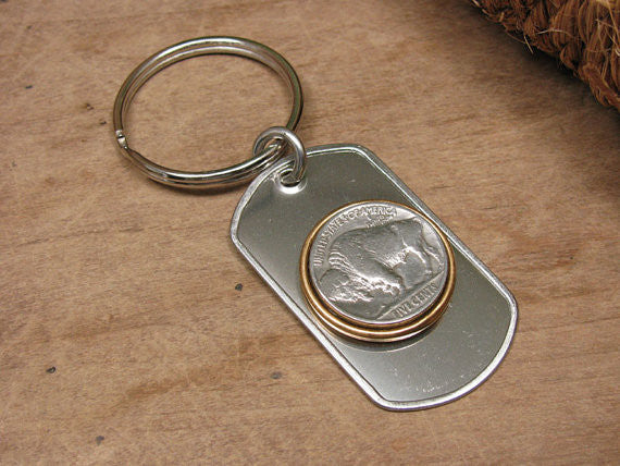 Buffalo Nickel Coin Dog Tag Key Ring