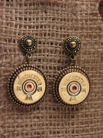 Brass 20 Gauge Shotgun Casing Brass Post Dangle Earrings