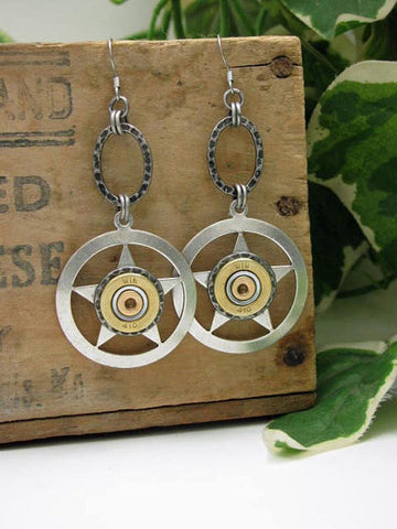 Lone Star 410 Gauge Shotgun Casing Silver Dangle Earrings