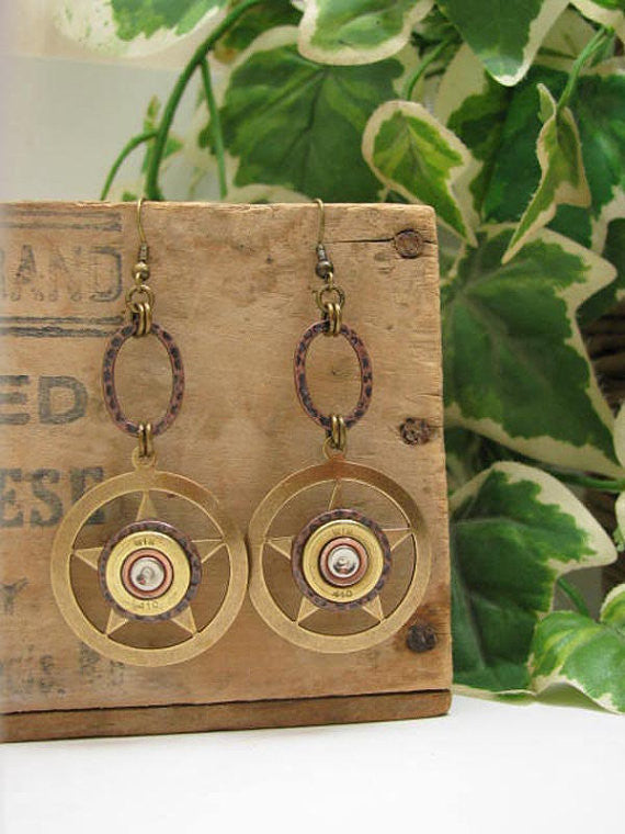 Lone Star Shotshell Brass Dangle Earrings - 410 Gauge-SureShot Jewelry