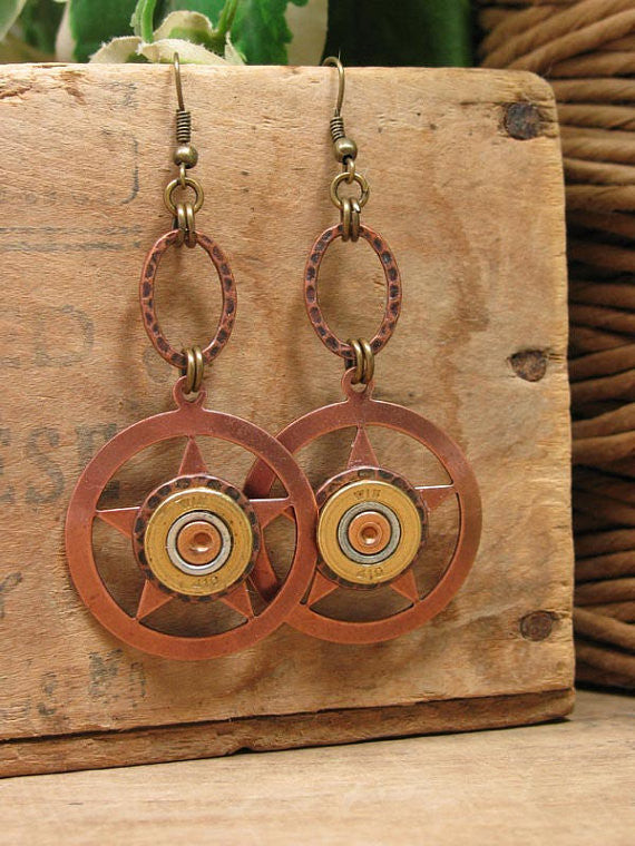 Lone Star Shotshell Copper Dangle Earrings - 410 Gauge-SureShot Jewelry