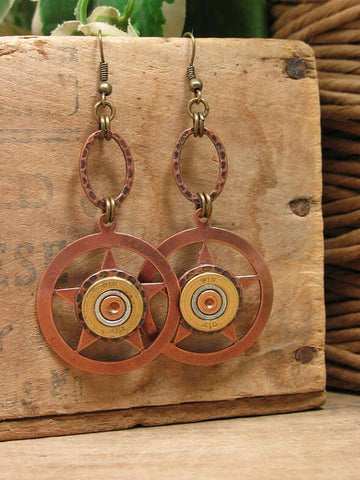 Lone Star Shotshell Copper Dangle Earrings - 410 Gauge