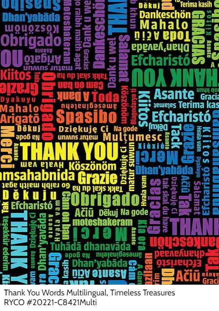 Thank You Words Multilingual by Timeless Treasures