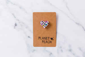 Leopard Print Heart Pin Badge