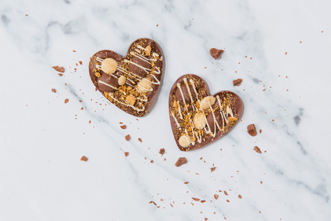 Caramel and Biscoff Chocolate Hearts