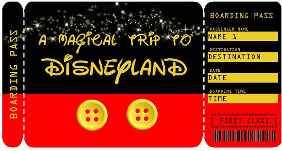 Disneyland Vacation Ticket Template - Mickey Pants