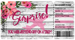 Floral Surprise Boarding Pass Template