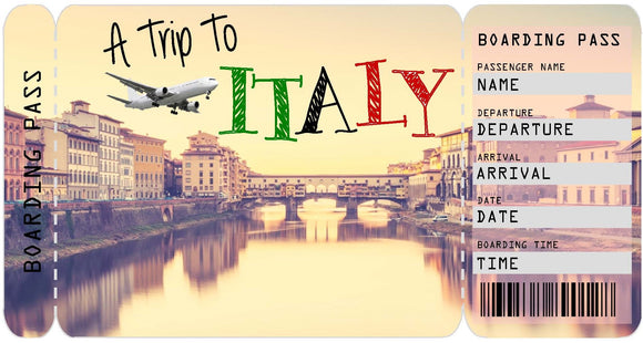 Ticket to Italy Boarding Pass Template