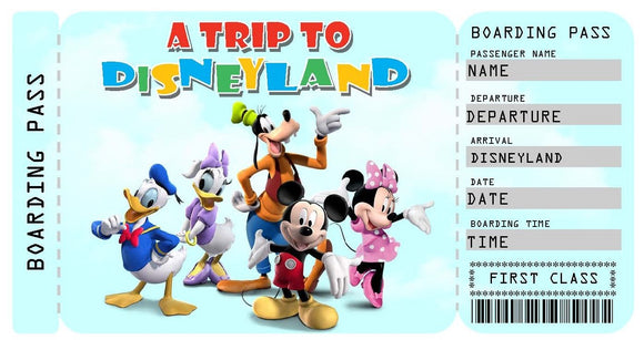 Disneyland Vacation Ticket Template - Mickey & Friends