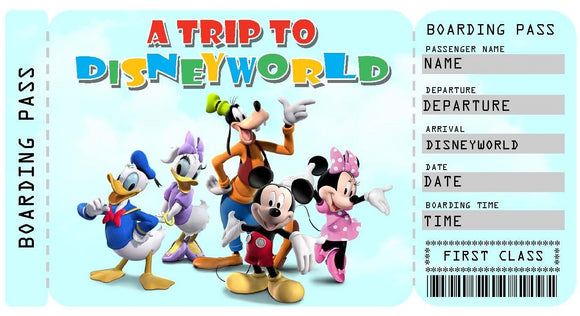 Disneyworld Vacation Ticket Template - Mickey & Friends
