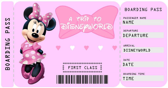 Disneyworld Vacation Ticket Template - Minnie Mouse