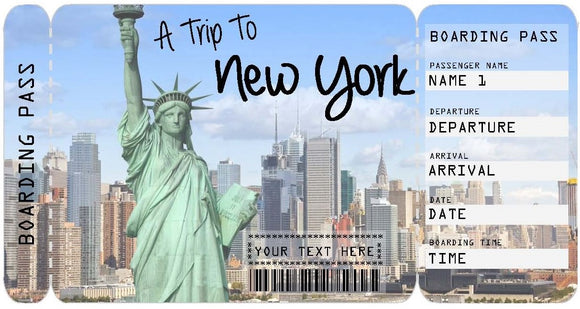Ticket to New York Boarding Pass Template