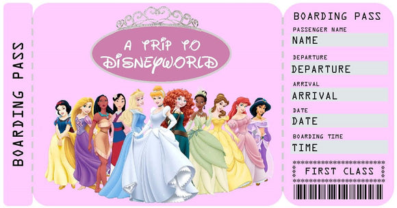 Disneyworld Vacation Ticket Template - Princesses