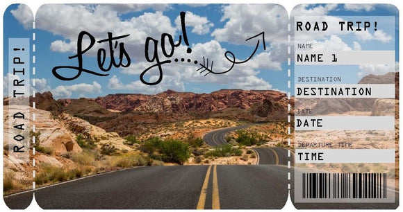 Let's Go On A Road Trip Adventure Ticket Template