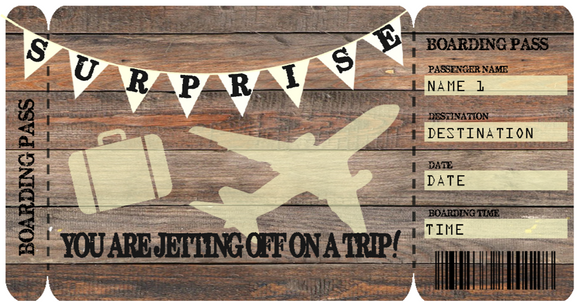 Surprise Vacation Ticket Template