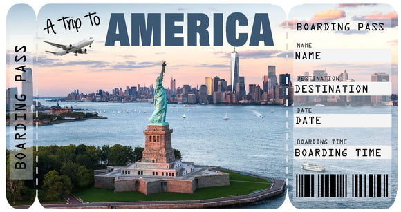 Ticket to America Boarding Pass Template