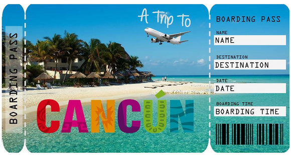 Ticket to Cancun Boarding Pass Template