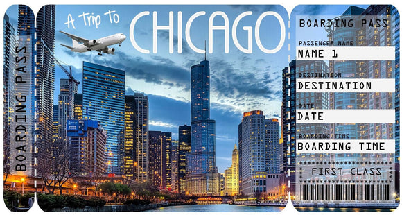 Ticket to Chicago Boarding Pass Template - Night
