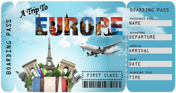 Ticket to Europe Boarding Pass Template