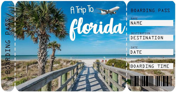 Ticket to Florida Boarding Pass Template