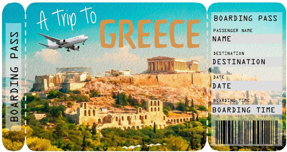 Ticket to Greece Boarding Pass Template