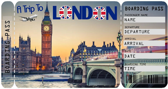Ticket to London Boarding Pass Template