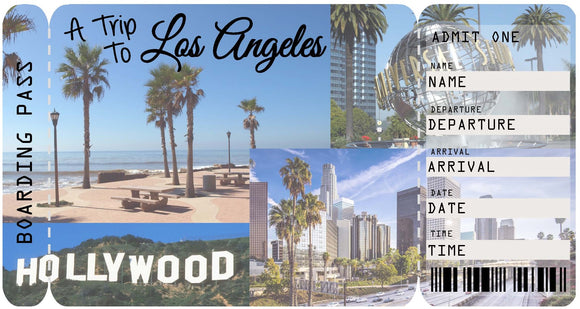 Ticket to Los Angeles Boarding Pass Template