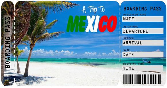 Ticket to Mexico Boarding Pass Template