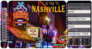 Ticket to Nashville Boarding Pass Template
