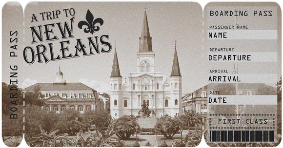 Ticket to New Orleans Boarding Pass Template