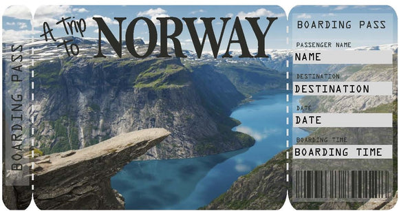 Ticket to Norway Boarding Pass Template