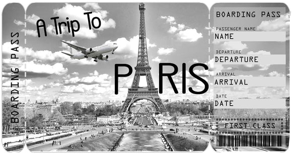 Ticket to Paris Boarding Pass Template
