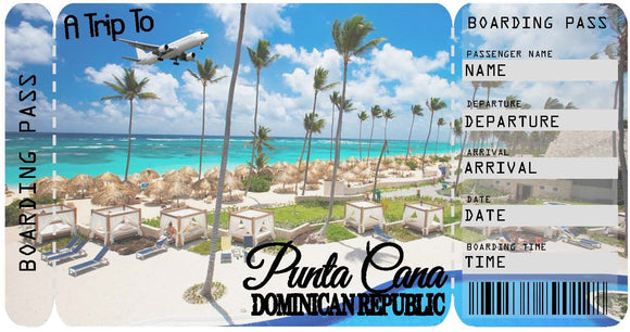 Ticket to Punta Cana Boarding Pass Template