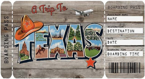 Ticket to Texas Boarding Pass Template