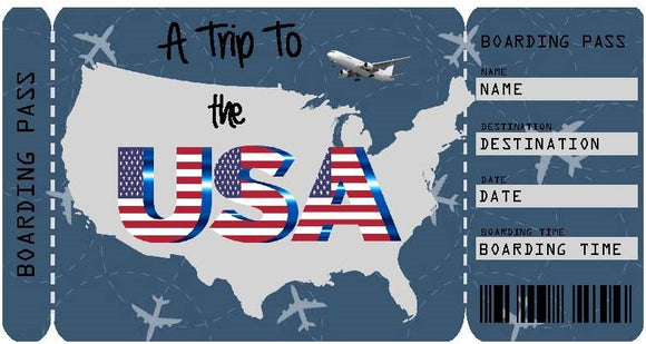 Ticket to the USA Boarding Pass Template