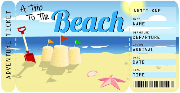 Ticket for a Beach Vacation Boarding Pass Template