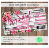 Floral Birthday Surprise Boarding Pass Template